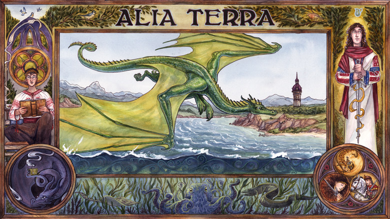 alia terra promo image with a dragon in flight, a princess drinking tea and a mage with a sword, in romanian folk costumes