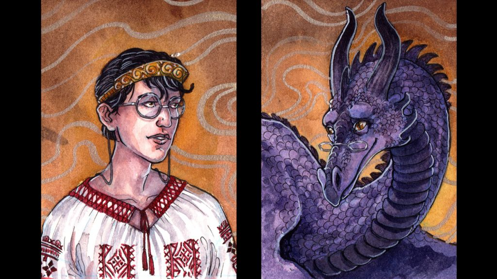 Image depicting two characters of Alia Terra. The Tower Princess has short, dark hair. She wears roundish glasses and a white ie (traditional Romanian tunic) with embroidery in red thread. Her tiara is coppery with swirls, rebel curls poking out from underneath. The Tower Dragon is covered in purple scales and wears narrow glasses over which their brown eyes gaze with playful kindness. Their wavy horns complement their majestic presence.