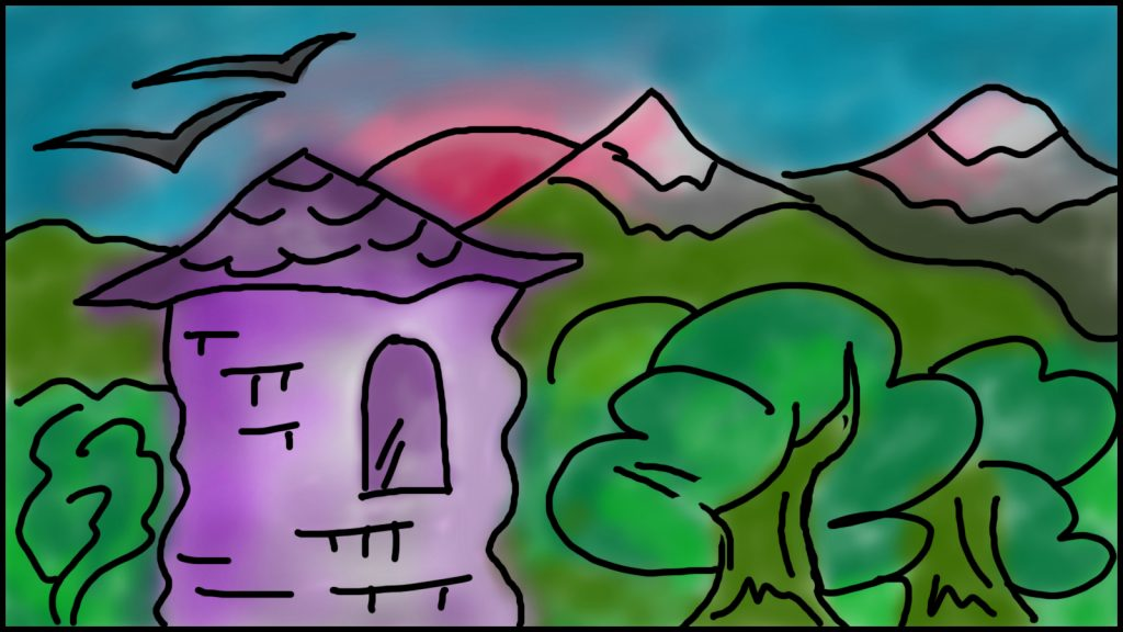 Digital color drawing of a tower in a forest with mountains and sun in the distance.