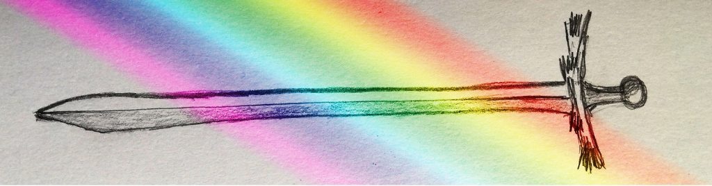 Pencil drawing of a sword with a rainbow overlaid on it diagonally.