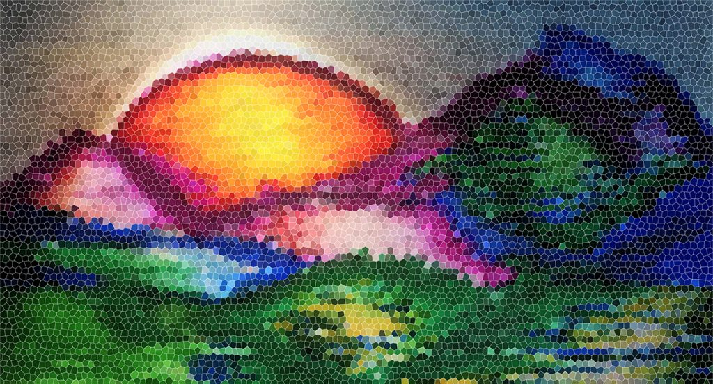Illustration in color of mountain range and a sun setting with mosaic tile effect (by Ava Kelly). The colors are rich and deep, from yellows, oranges, to purple, blue and greens.